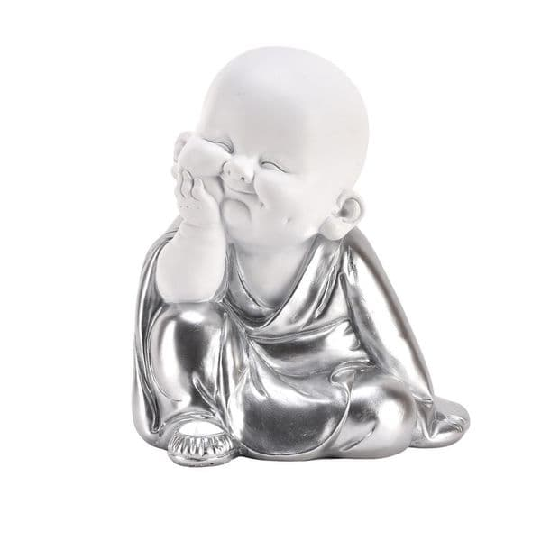 White and Silver Child Buddha Sitting Head on Hand Gift Ornament Figurine